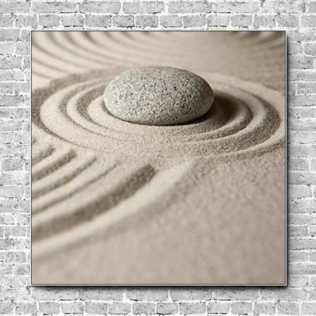Stoffklang Akustikbild Quadrat Wand Zen Stein im Sand