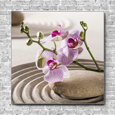 Stoffklang Akustikbild Quadrat Wand Zen Stein im Sand Orchidee