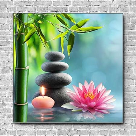 Stoffklang Akustikbild Quadrat Wand Zen Steinturm Kerze Lotusblüte
