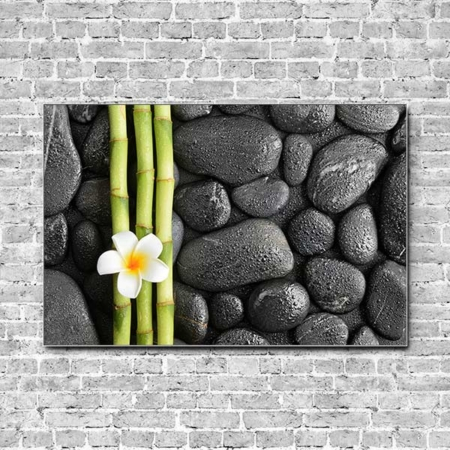 Stoffklang Akustikbild Querformat Wand Zen Lotusblüte Bambus