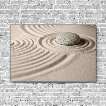 Stoffklang Akustikbild Querformat Wand Zen Stein im Sand
