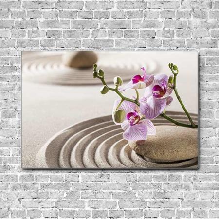 Stoffklang Akustikbild Querformat Wand Zen Stein im Sand Orchidee