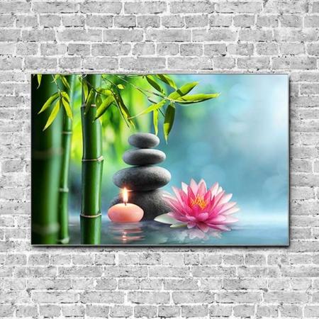Stoffklang Akustikbild Querformat Wand Zen Steinturm Kerze Lotusblüte