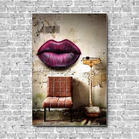 Stoffklang Akustikbild Hochformat Wand Lost Place Graffiti über Stuhl