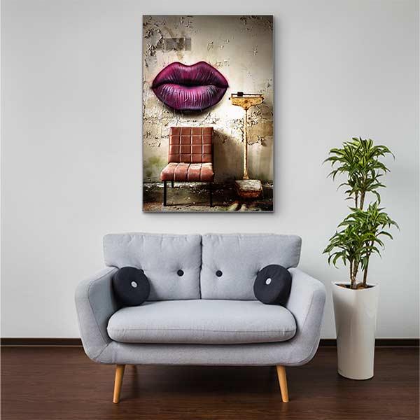 Stoffklang Akustikbild Hochformat Zimmer Lost Place Graffiti über Stuhl