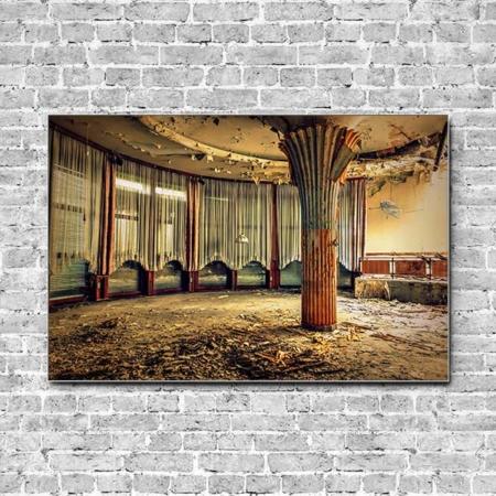 Stoffklang Akustikbild Querformat Wand Lost Place Säule