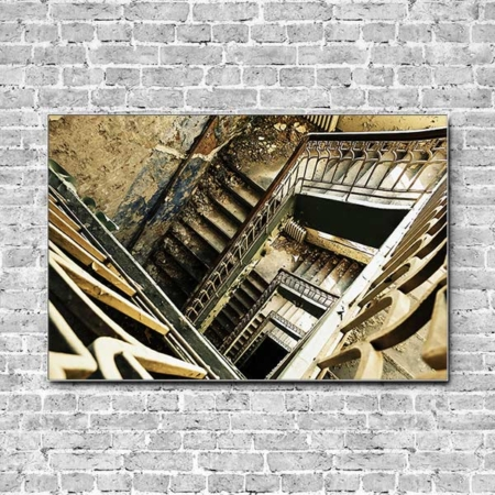 Stoffklang Akustikbild Querformat Wand Lost Place Treppenhaus