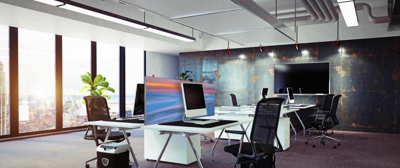 Akustik Absorber in Form eines Tischabsorbers im Großraumbüro
